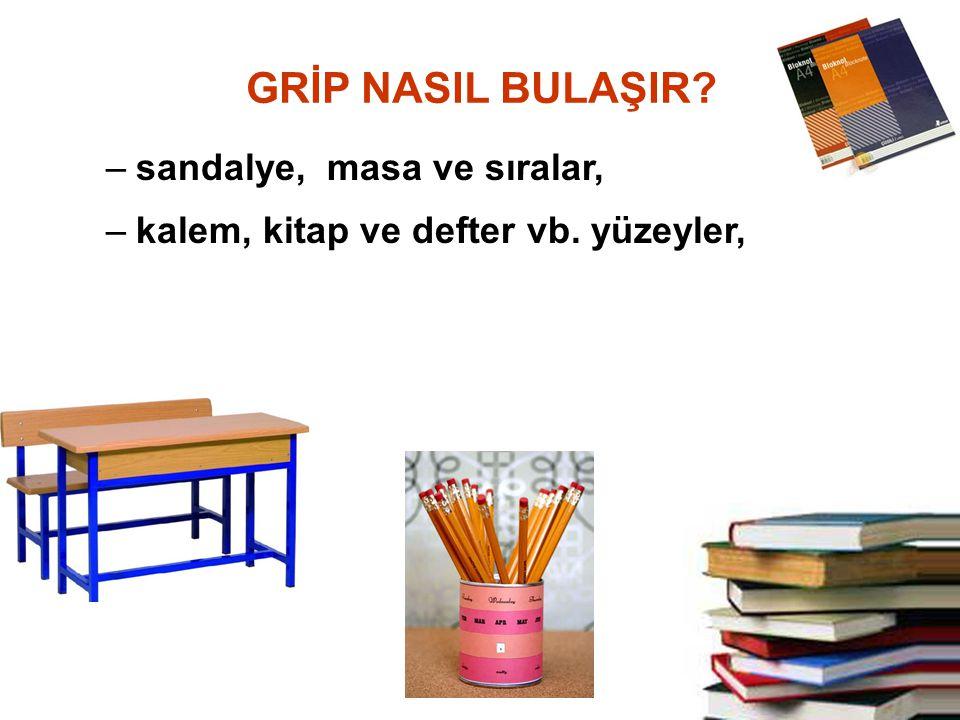 –sandalye, masa ve sıralar, –kalem, kitap ve defter vb. yüzeyler, GRİP NASIL BULAŞIR?