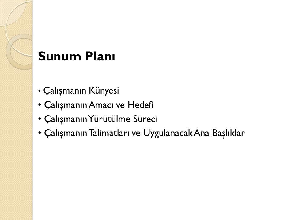 Sunum Planı Çalışmanın Künyesi Çalışmanın Amacı ve Hedefi Çalışmanın Yürütülme Süreci Çalışmanın Talimatları ve Uygulanacak Ana Başlıklar