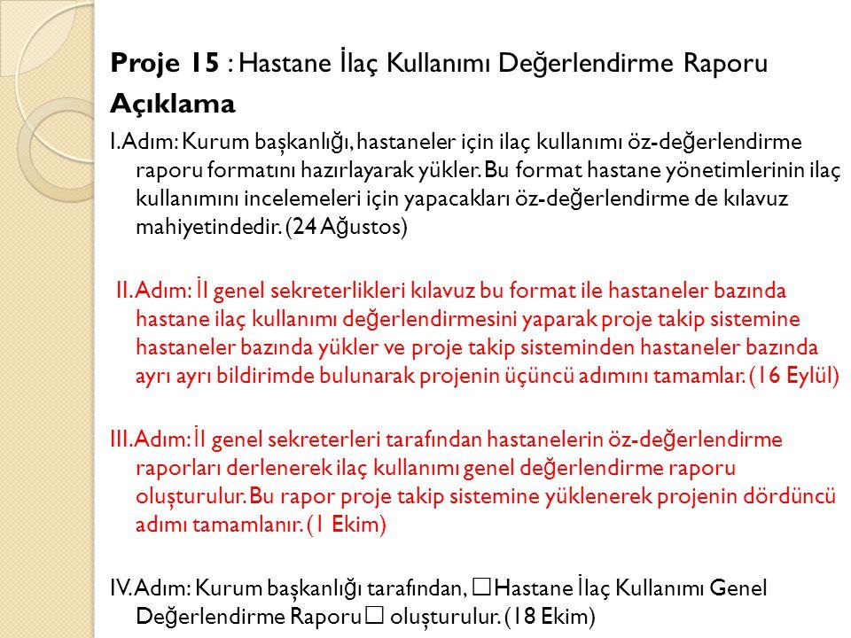 Proje 15 : Hastane İ laç Kullanımı De ğ erlendirme Raporu Açıklama I.Adım: Kurum başkanlı ğ ı, hastaneler için ilaç kullanımı öz-de ğ erlendirme raporu formatını hazırlayarak yükler.