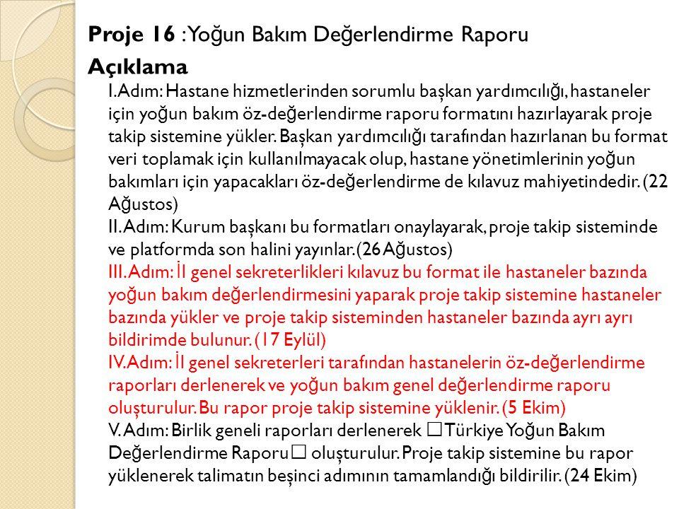 Proje 16 : Yo ğ un Bakım De ğ erlendirme Raporu Açıklama I.Adım: Hastane hizmetlerinden sorumlu başkan yardımcılı ğ ı, hastaneler için yo ğ un bakım öz-de ğ erlendirme raporu formatını hazırlayarak proje takip sistemine yükler.