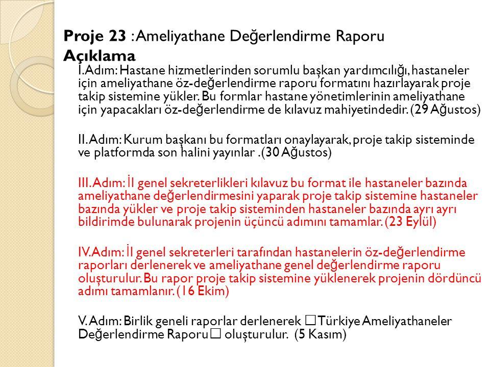Proje 23 : Ameliyathane De ğ erlendirme Raporu Açıklama I.Adım: Hastane hizmetlerinden sorumlu başkan yardımcılı ğ ı, hastaneler için ameliyathane öz-de ğ erlendirme raporu formatını hazırlayarak proje takip sistemine yükler.