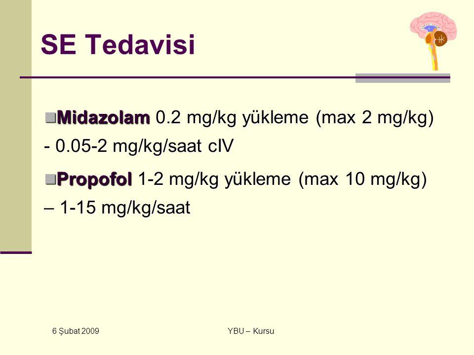 6 Şubat 2009 YBU – Kursu SE Tedavisi Midazolam 0.2 mg/kg yükleme (max 2 mg/kg) - 0.05-2 mg/kg/saat cIV Midazolam 0.2 mg/kg yükleme (max 2 mg/kg) - 0.0