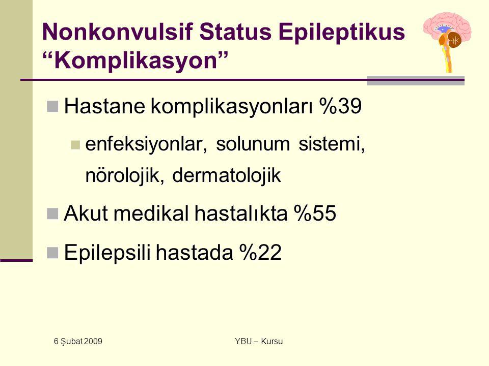 """6 Şubat 2009 YBU – Kursu Nonkonvulsif Status Epileptikus """"Komplikasyon"""" Hastane komplikasyonları %39 Hastane komplikasyonları %39 enfeksiyonlar, solun"""
