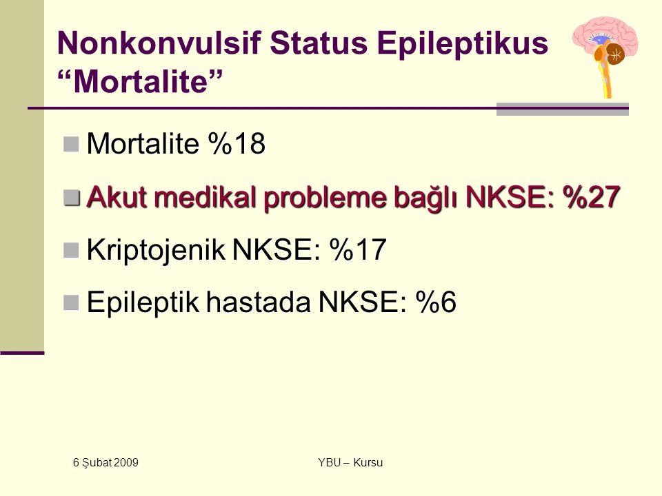 "6 Şubat 2009 YBU – Kursu Nonkonvulsif Status Epileptikus ""Mortalite"" Mortalite %18 Mortalite %18 Akut medikal probleme bağlı NKSE: %27 Akut medikal pr"