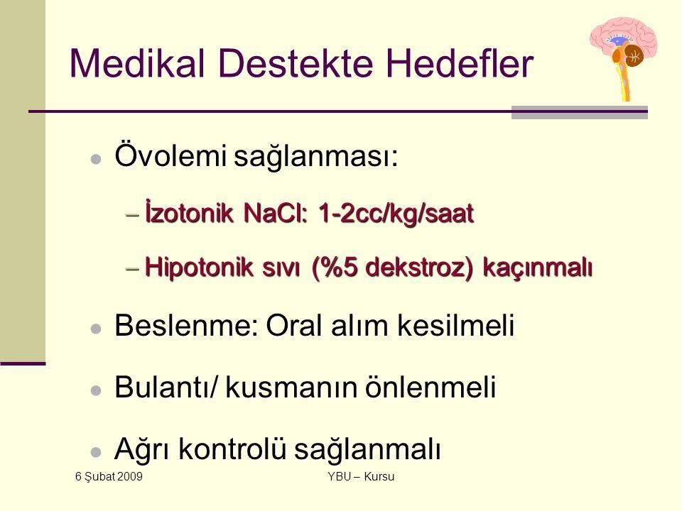 6 Şubat 2009 YBU – Kursu Medikal Destekte Hedefler ● Övolemi sağlanması: − İzotonik NaCl: 1-2cc/kg/saat − Hipotonik sıvı (%5 dekstroz) kaçınmalı ● Bes