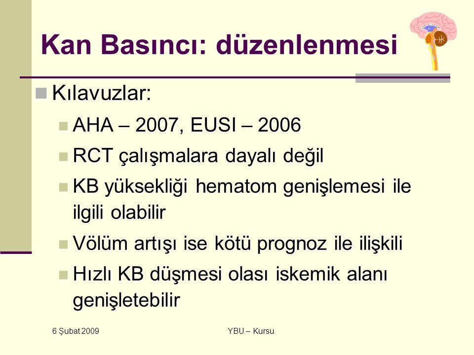 6 Şubat 2009 YBU – Kursu Kan Basıncı: düzenlenmesi Kılavuzlar: Kılavuzlar: AHA – 2007, EUSI – 2006 AHA – 2007, EUSI – 2006 RCT çalışmalara dayalı deği