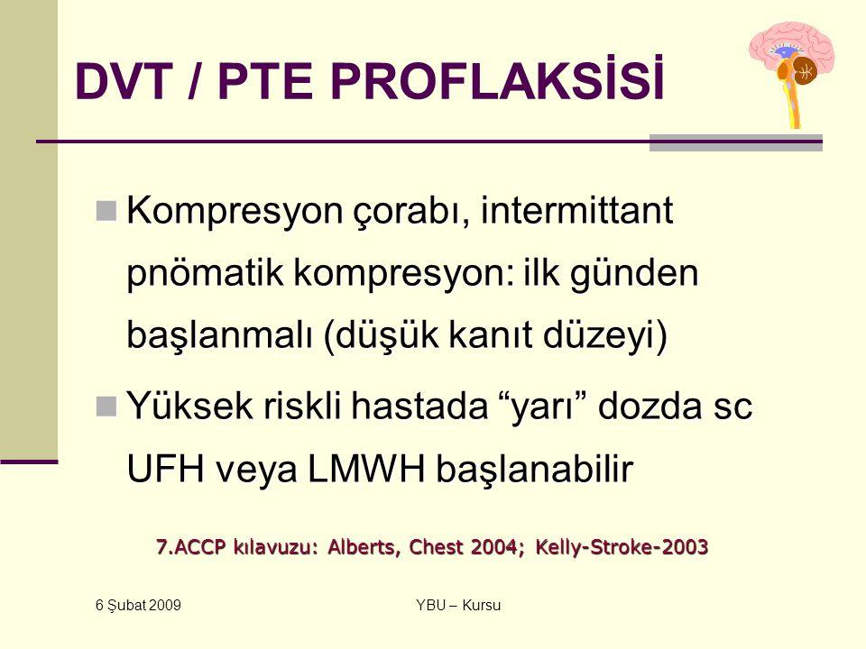 6 Şubat 2009 YBU – Kursu DVT / PTE PROFLAKSİSİ Kompresyon çorabı, intermittant pnömatik kompresyon: ilk günden başlanmalı (düşük kanıt düzeyi) Kompres