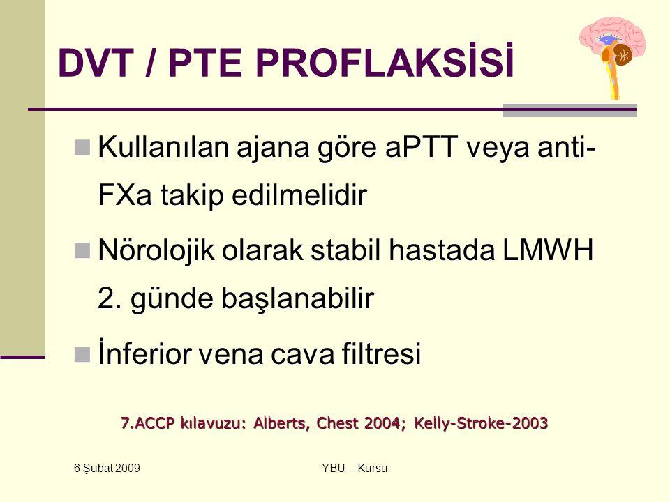 6 Şubat 2009 YBU – Kursu DVT / PTE PROFLAKSİSİ Kullanılan ajana göre aPTT veya anti- FXa takip edilmelidir Kullanılan ajana göre aPTT veya anti- FXa t