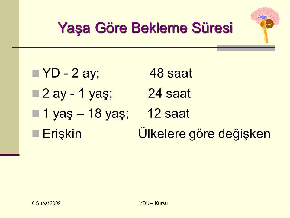 6 Şubat 2009 YBU – Kursu Yaşa Göre Bekleme Süresi YD - 2 ay; 48 saat YD - 2 ay; 48 saat 2 ay - 1 yaş; 24 saat 2 ay - 1 yaş; 24 saat 1 yaş – 18 yaş; 12