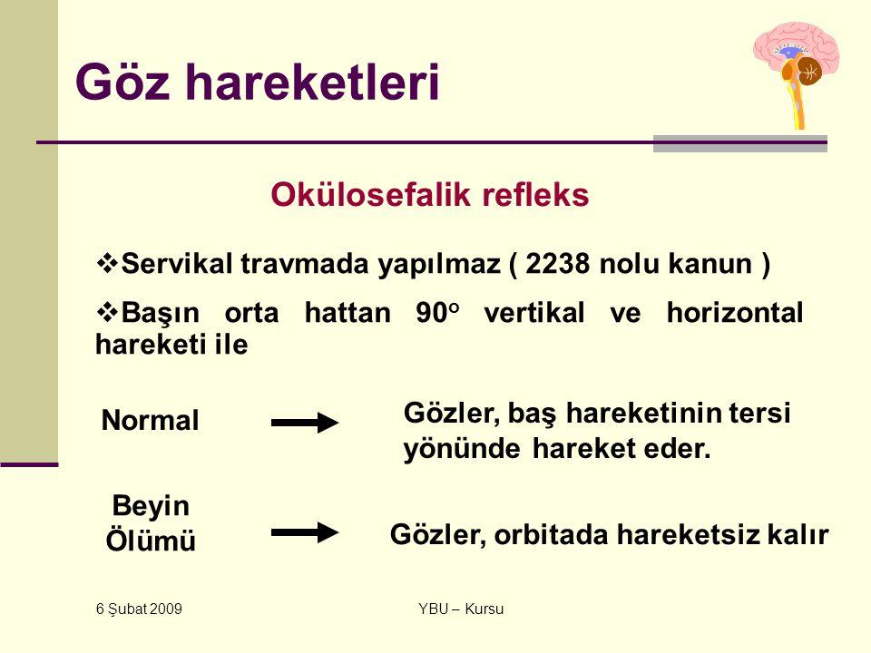 6 Şubat 2009 YBU – Kursu Göz hareketleri Okülosefalik refleks  Servikal travmada yapılmaz ( 2238 nolu kanun )  Başın orta hattan 90 o vertikal ve ho