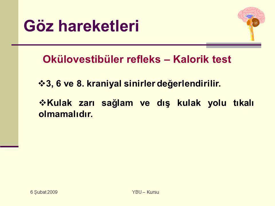 6 Şubat 2009 YBU – Kursu Göz hareketleri Okülovestibüler refleks – Kalorik test  3, 6 ve 8. kraniyal sinirler değerlendirilir.  Kulak zarı sağlam ve