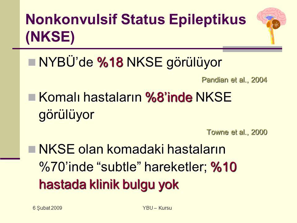6 Şubat 2009 YBU – Kursu Nonkonvulsif Status Epileptikus (NKSE) NYBÜ'de %18 NKSE görülüyor NYBÜ'de %18 NKSE görülüyor Pandian et al., 2004 Pandian et