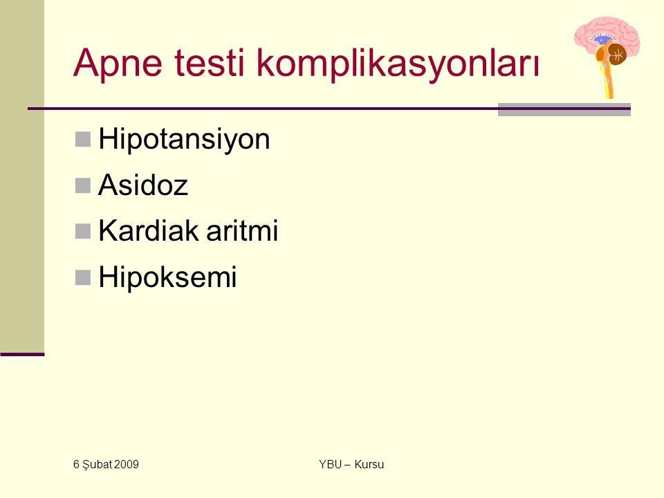 6 Şubat 2009 YBU – Kursu Apne testi komplikasyonları Hipotansiyon Hipotansiyon Asidoz Asidoz Kardiak aritmi Kardiak aritmi Hipoksemi Hipoksemi