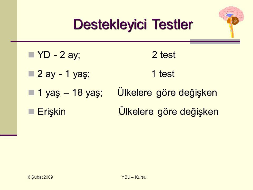 6 Şubat 2009 YBU – Kursu Destekleyici Testler YD - 2 ay; 2 test YD - 2 ay; 2 test 2 ay - 1 yaş; 1 test 2 ay - 1 yaş; 1 test 1 yaş – 18 yaş; Ülkelere g