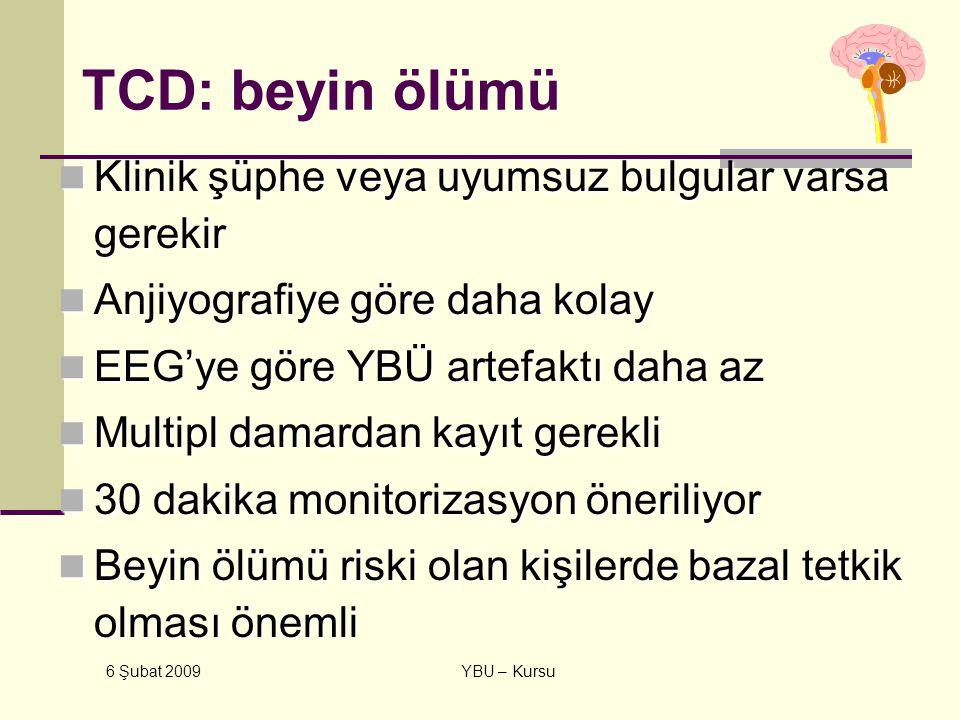 6 Şubat 2009 YBU – Kursu TCD: beyin ölümü Klinik şüphe veya uyumsuz bulgular varsa gerekir Klinik şüphe veya uyumsuz bulgular varsa gerekir Anjiyograf