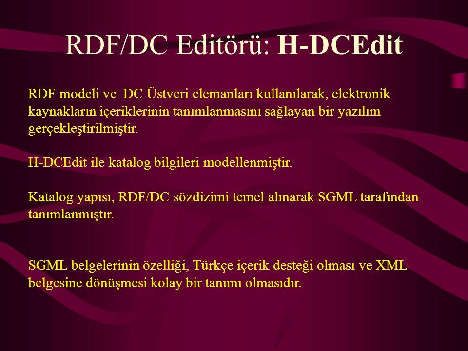 SGML Bildirimi RDF/DC Belge Tür Tanımı DSSSL Bildirimi Biçem Bildirimi RDF/DC Ayrıştırıcı SGML Ayrıştırıcı (SP) SGML Belgesi Ayrıştı- rım Çıktısı DC Elemanları Editörü SG- ML Belge si DSSSL Motoru (Jade) Yeniden biçimlenmiş belge çıktısı (html, rtf, TeX) Yerel yardımcı programlar (vi, netscape, xview,…) RDF/DC Biçem Tanımı Sistem işlev çizgesi