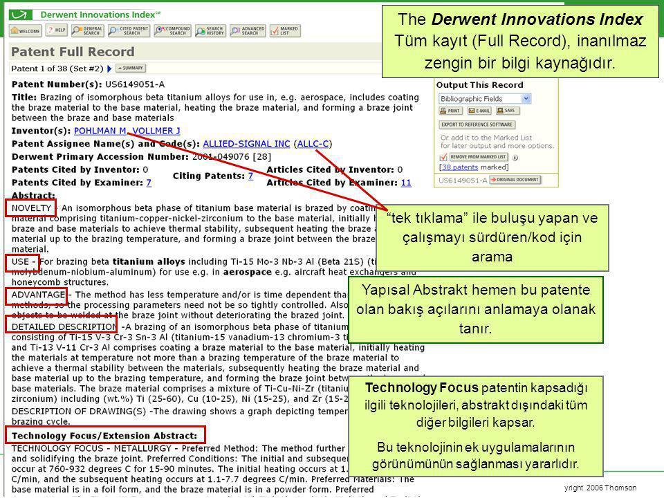 Copyright 2006 Thomson The Derwent Innovations Index Tüm kayıt (Full Record), inanılmaz zengin bir bilgi kaynağıdır. Yapısal Abstrakt hemen bu patente