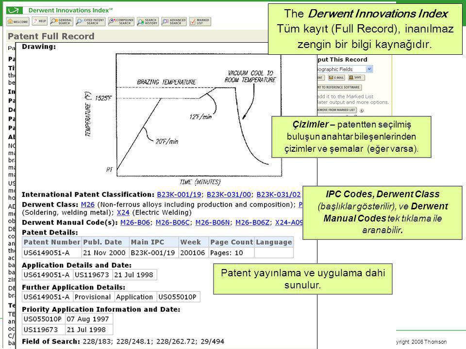 Copyright 2006 Thomson The Derwent Innovations Index Tüm kayıt (Full Record), inanılmaz zengin bir bilgi kaynağıdır. Çizimler – patentten seçilmiş bul