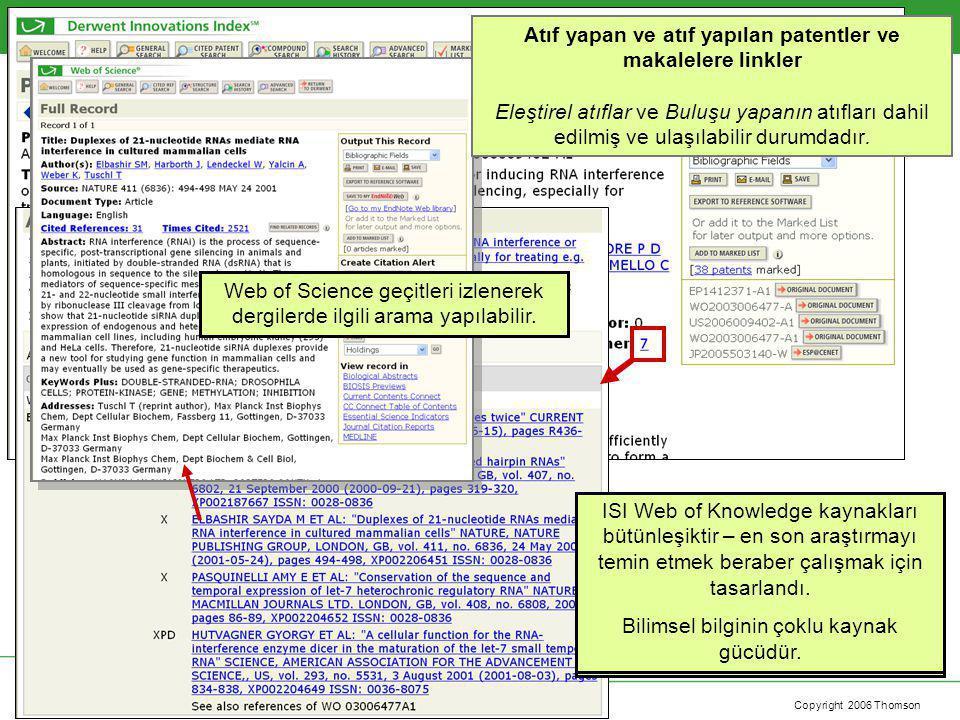 Copyright 2006 Thomson Atıf yapan ve atıf yapılan patentler ve makalelere linkler Eleştirel atıflar ve Buluşu yapanın atıfları dahil edilmiş ve ulaşılabilir durumdadır.