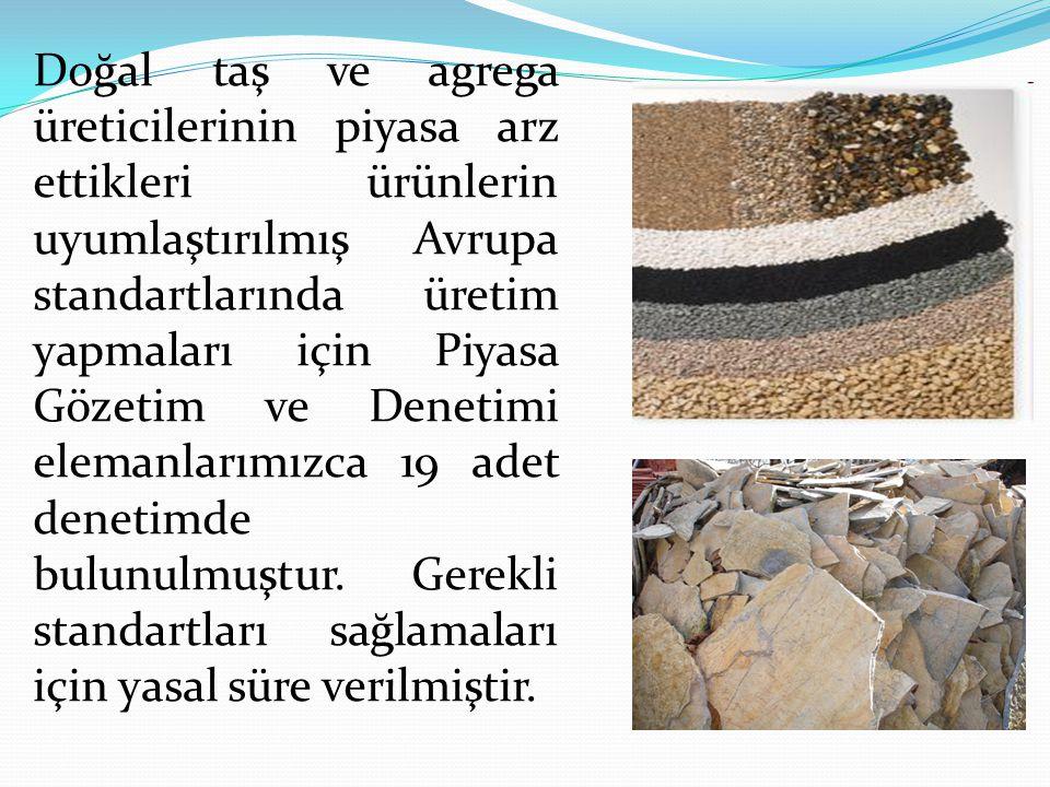 Doğal taş ve agrega üreticilerinin piyasa arz ettikleri ürünlerin uyumlaştırılmış Avrupa standartlarında üretim yapmaları için Piyasa Gözetim ve Denet
