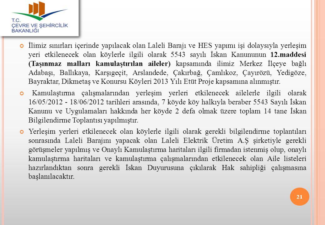 İlimiz sınırları içerinde yapılacak olan Laleli Barajı ve HES yapımı işi dolaysıyla yerleşim yeri etkilenecek olan köylerle ilgili olarak 5543 sayılı