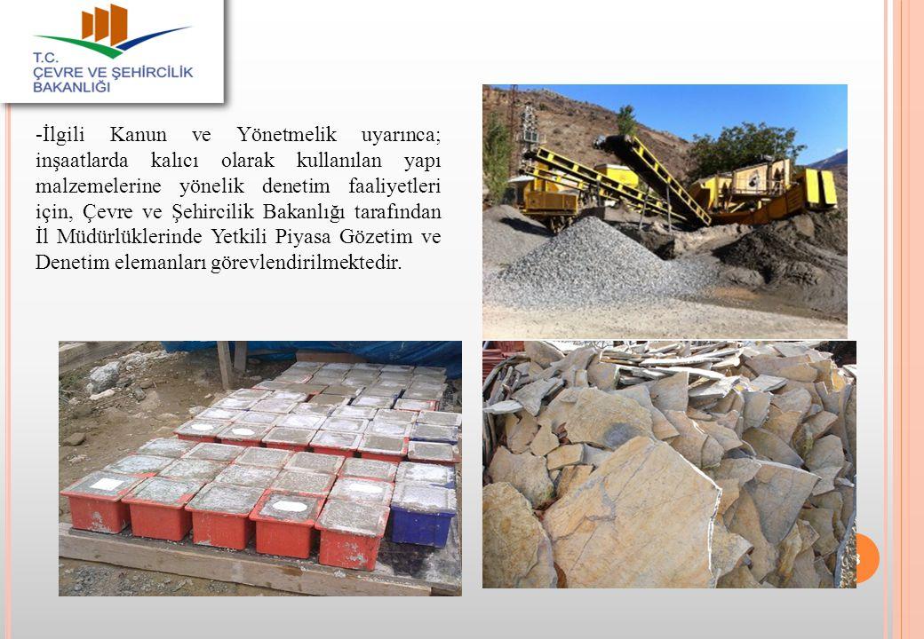 -İlgili Kanun ve Yönetmelik uyarınca; inşaatlarda kalıcı olarak kullanılan yapı malzemelerine yönelik denetim faaliyetleri için, Çevre ve Şehircilik B