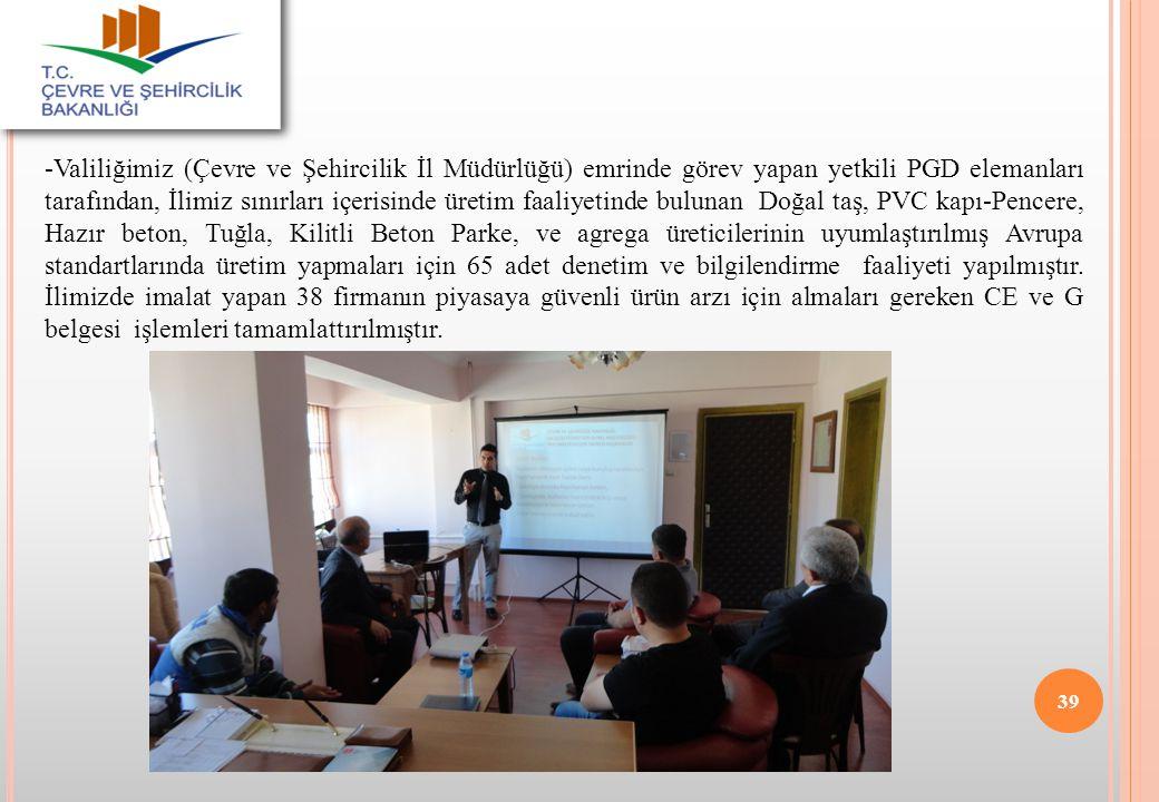 -Valiliğimiz (Çevre ve Şehircilik İl Müdürlüğü) emrinde görev yapan yetkili PGD elemanları tarafından, İlimiz sınırları içerisinde üretim faaliyetinde