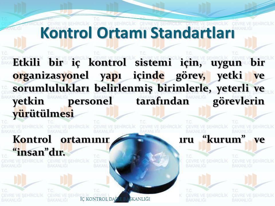 Kontrol Ortamı Standartları Etkili bir iç kontrol sistemi için, uygun bir organizasyonel yapı içinde görev, yetki ve sorumlulukları belirlenmiş biriml