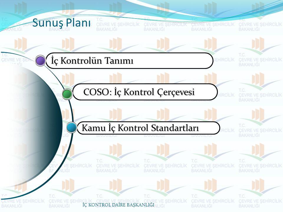 Sunuş Planı Kamu İç Kontrol Standartları COSO: İç Kontrol Çerçevesi İç Kontrolün Tanımı İÇ KONTROL DAİRE BAŞKANLIĞI