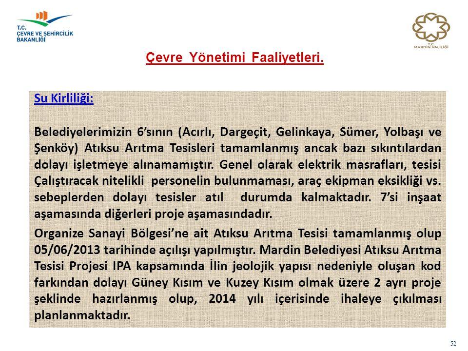 52 Su Kirliliği: Belediyelerimizin 6'sının (Acırlı, Dargeçit, Gelinkaya, Sümer, Yolbaşı ve Şenköy) Atıksu Arıtma Tesisleri tamamlanmış ancak bazı sıkı