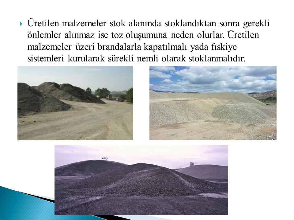  Üretilen malzemeler stok alanında stoklandıktan sonra gerekli önlemler alınmaz ise toz oluşumuna neden olurlar. Üretilen malzemeler üzeri brandalarl