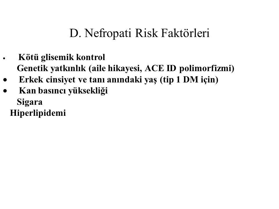 D. Nefropati Risk Faktörleri  Kötü glisemik kontrol Genetik yatkınlık (aile hikayesi, ACE ID polimorfizmi)  Erkek cinsiyet ve tanı anındaki yaş (tip