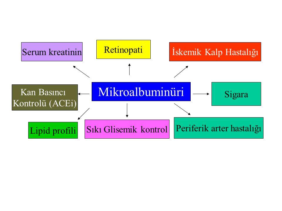 Mikroalbuminüri Retinopati İskemik Kalp Hastalığı Periferik arter hastalığı Sigara Sıkı Glisemik kontrol Lipid profili Kan Basıncı Kontrolü (ACEi) Serum kreatinin