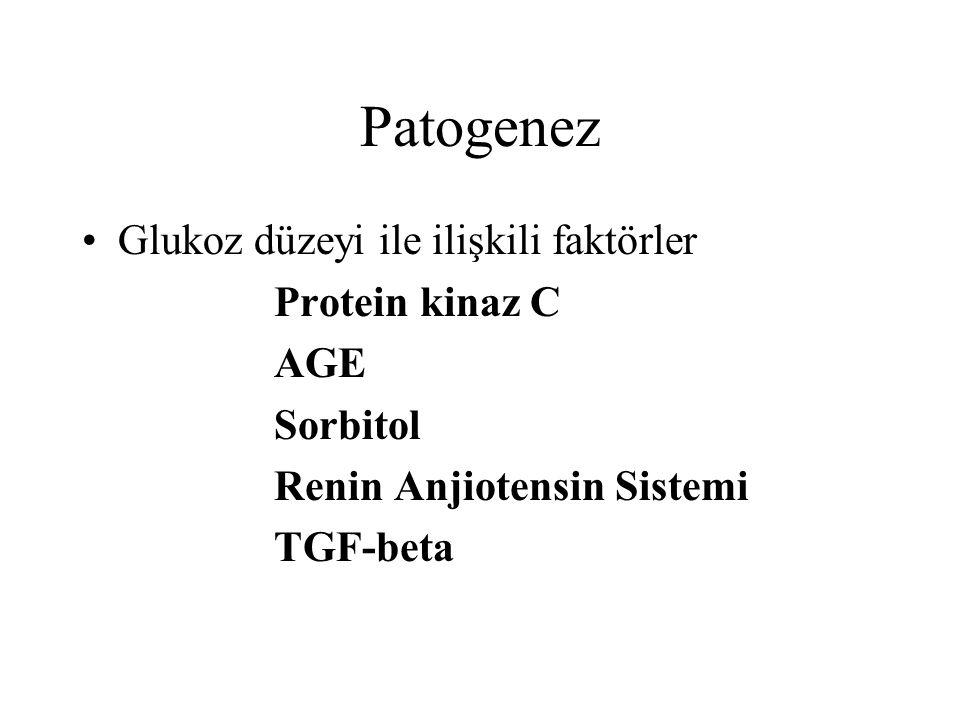 Patogenez Glukoz düzeyi ile ilişkili faktörler Protein kinaz C AGE Sorbitol Renin Anjiotensin Sistemi TGF-beta