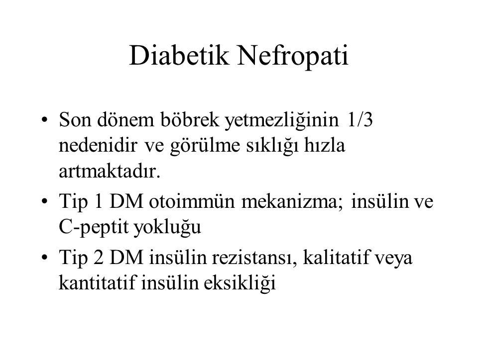 Diabetik Nefropati Son dönem böbrek yetmezliğinin 1/3 nedenidir ve görülme sıklığı hızla artmaktadır. Tip 1 DM otoimmün mekanizma; insülin ve C-peptit
