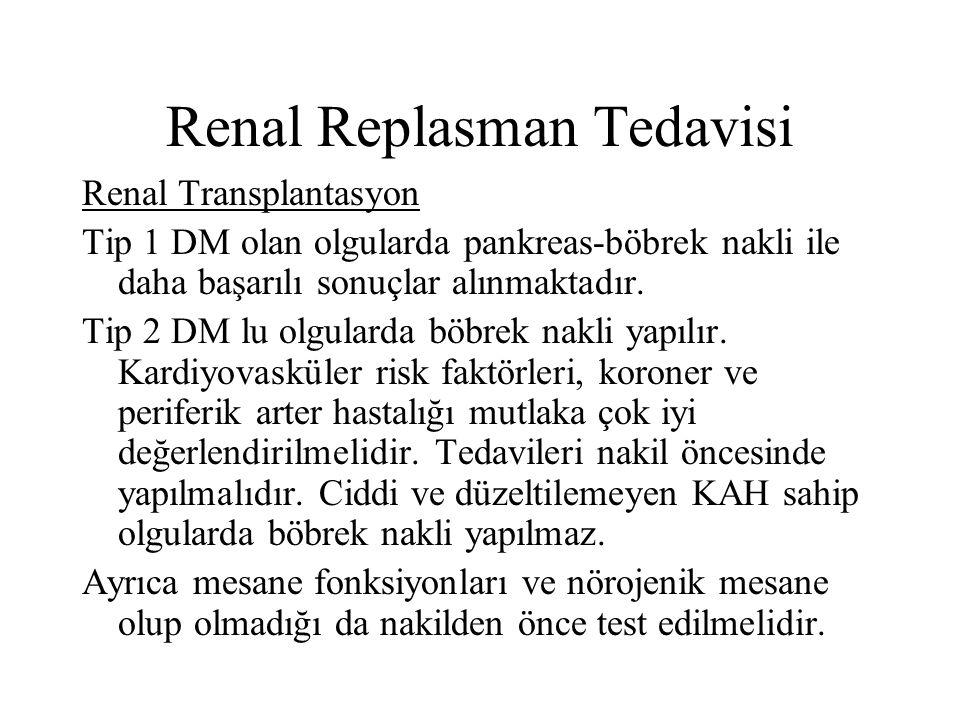 Renal Replasman Tedavisi Renal Transplantasyon Tip 1 DM olan olgularda pankreas-böbrek nakli ile daha başarılı sonuçlar alınmaktadır. Tip 2 DM lu olgu
