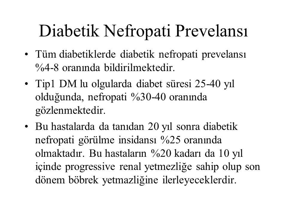 Diabetik Nefropati Prevelansı Tüm diabetiklerde diabetik nefropati prevelansı %4-8 oranında bildirilmektedir. Tip1 DM lu olgularda diabet süresi 25-40