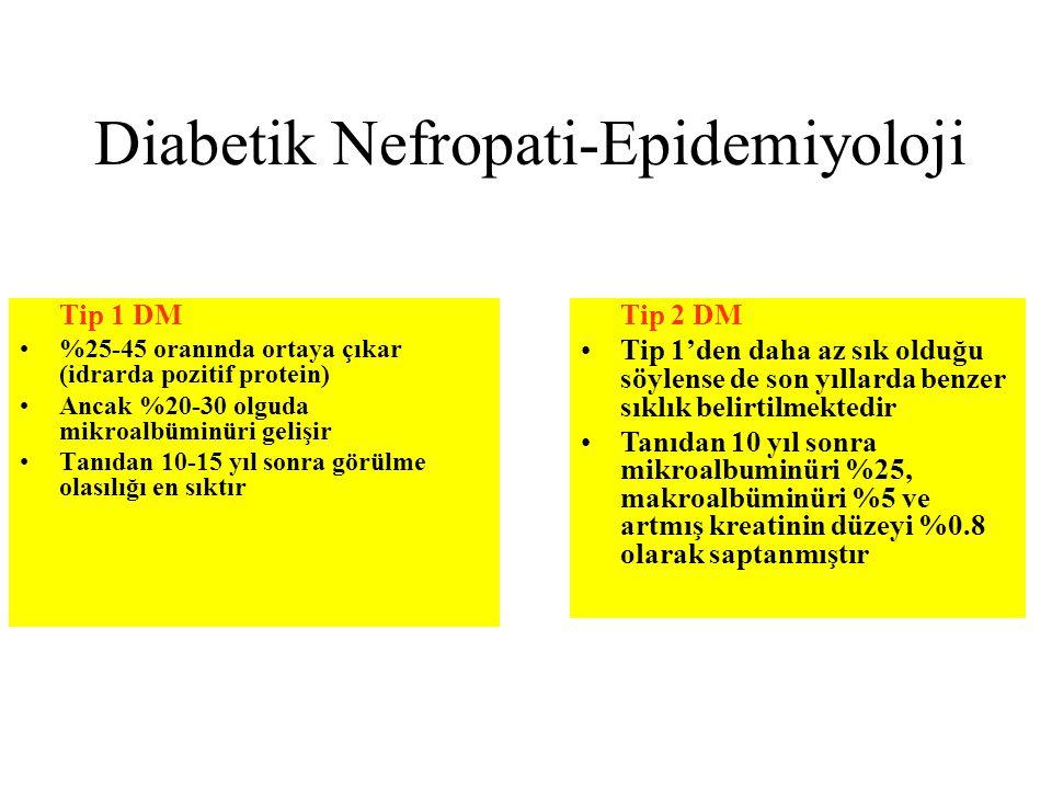 Diabetik Nefropati-Epidemiyoloji Tip 1 DM %25-45 oranında ortaya çıkar (idrarda pozitif protein) Ancak %20-30 olguda mikroalbüminüri gelişir Tanıdan 10-15 yıl sonra görülme olasılığı en sıktır Tip 2 DM Tip 1'den daha az sık olduğu söylense de son yıllarda benzer sıklık belirtilmektedir Tanıdan 10 yıl sonra mikroalbuminüri %25, makroalbüminüri %5 ve artmış kreatinin düzeyi %0.8 olarak saptanmıştır
