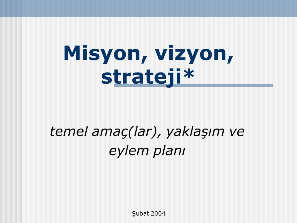 Şubat 2004 Stratejik düşünme ve Planlama - Kısıtlı kaynaklarımızı en iyi nasıl değerlendirebileceğini belirler.