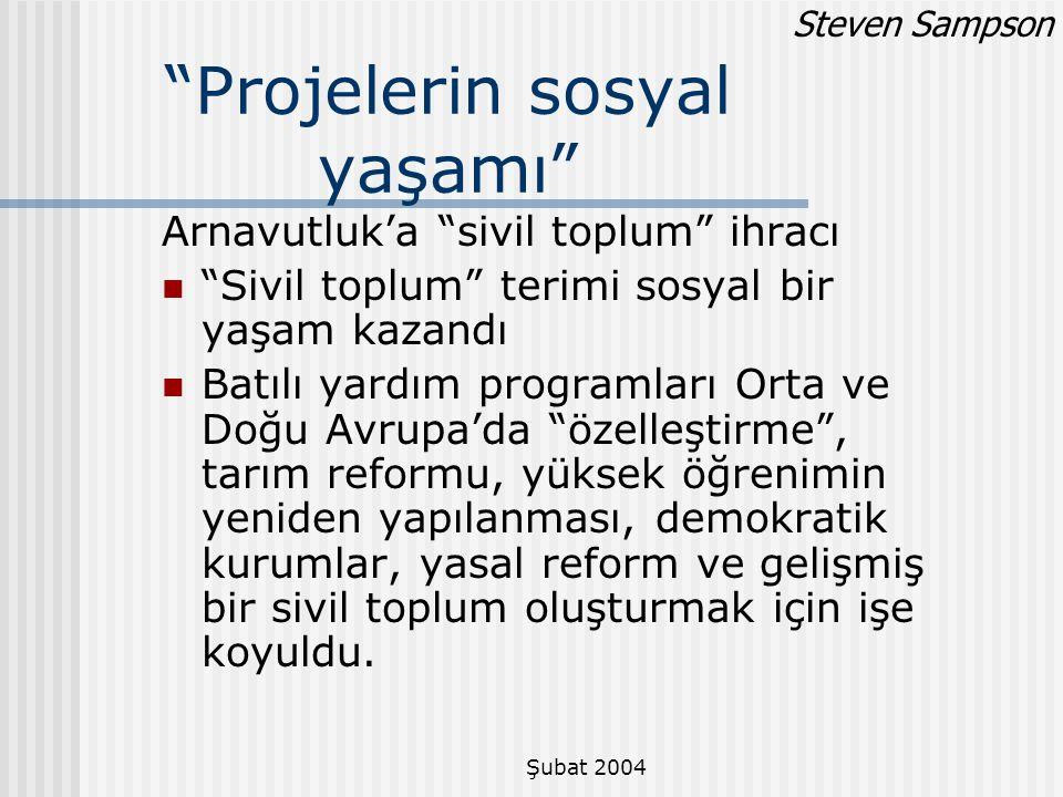 """Şubat 2004 """"Projelerin sosyal yaşamı"""" Arnavutluk'a """"sivil toplum"""" ihracı """"Sivil toplum"""" terimi sosyal bir yaşam kazandı Batılı yardım programları Orta"""