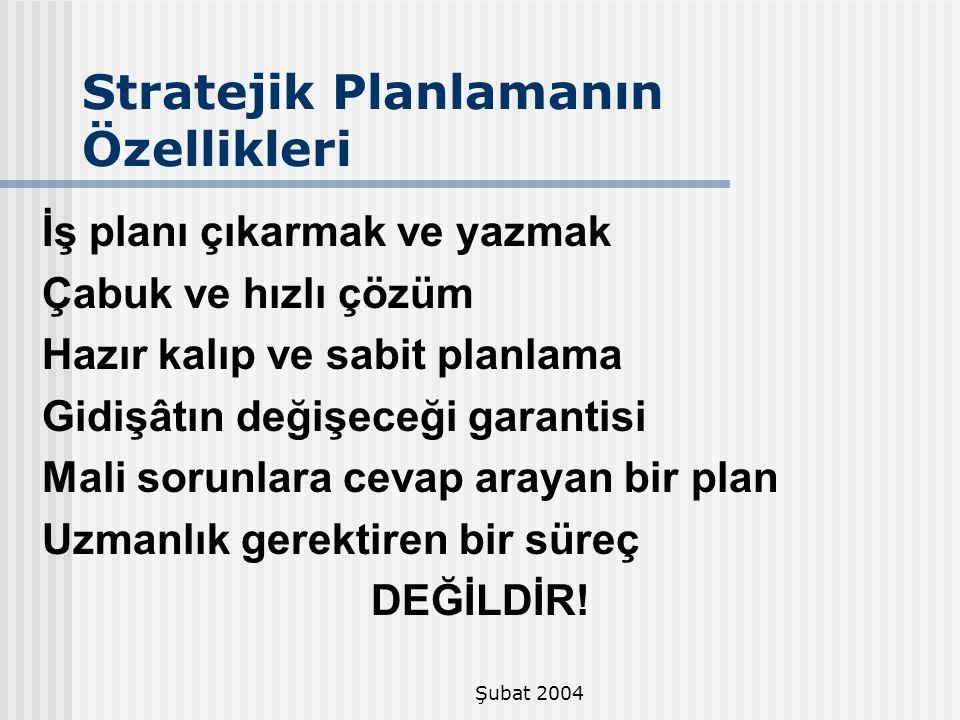 Şubat 2004 Stratejik Planlamanın Özellikleri İş planı çıkarmak ve yazmak Çabuk ve hızlı çözüm Hazır kalıp ve sabit planlama Gidişâtın değişeceği garan