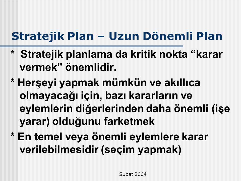 """Şubat 2004 Stratejik Plan – Uzun Dönemli Plan * Stratejik planlama da kritik nokta """"karar vermek"""" önemlidir. * Herşeyi yapmak mümkün ve akıllıca olmay"""