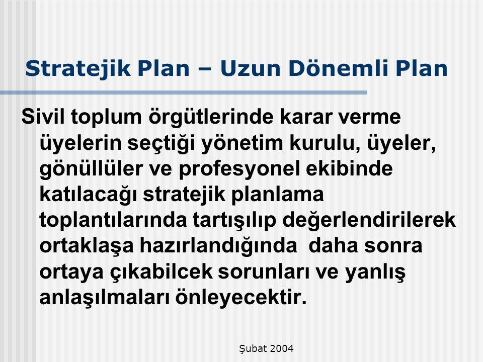 Şubat 2004 Stratejik Plan – Uzun Dönemli Plan Sivil toplum örgütlerinde karar verme üyelerin seçtiği yönetim kurulu, üyeler, gönüllüler ve profesyonel