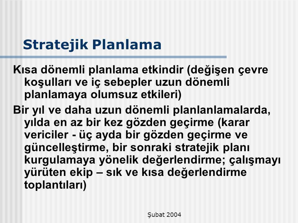 Şubat 2004 Stratejik Planlama Kısa dönemli planlama etkindir (değişen çevre koşulları ve iç sebepler uzun dönemli planlamaya olumsuz etkileri) Bir yıl