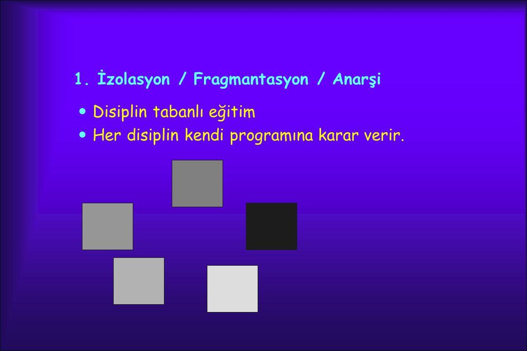 1. İzolasyon / Fragmantasyon / Anarşi Disiplin tabanlı eğitim Her disiplin kendi programına karar verir.