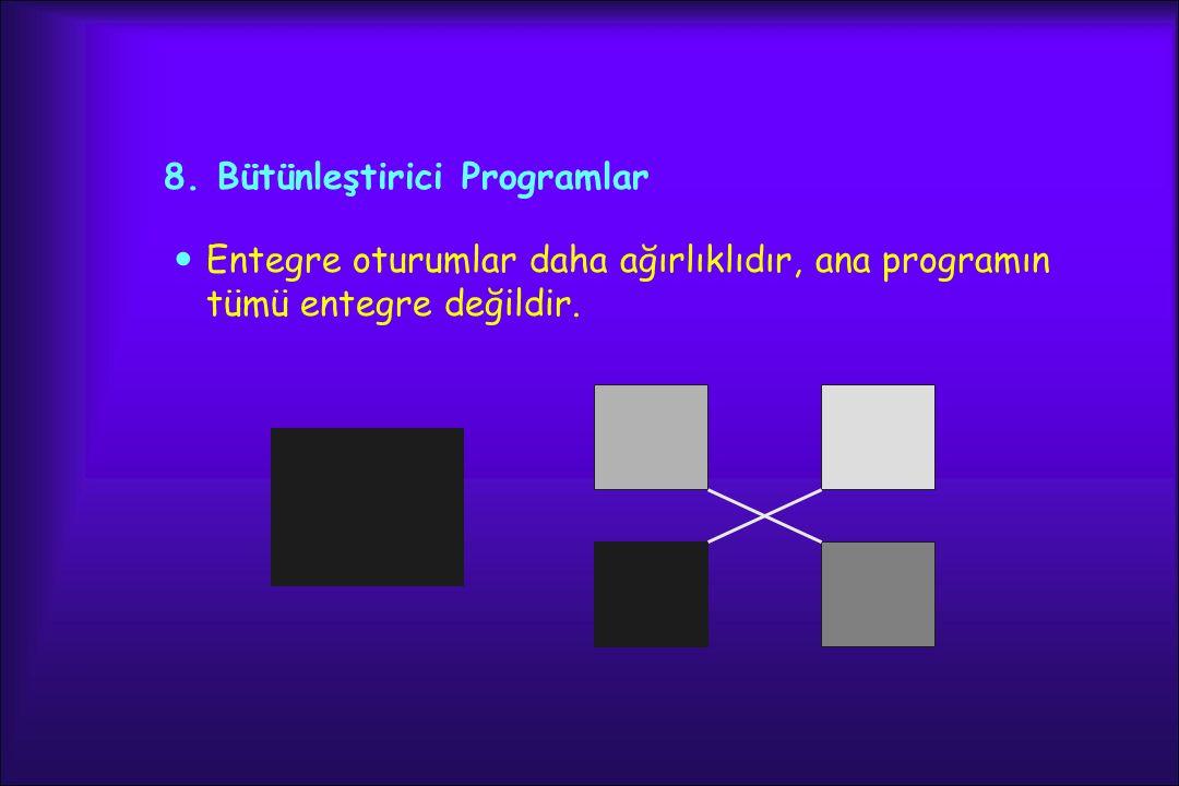 8. Bütünleştirici Programlar Entegre oturumlar daha ağırlıklıdır, ana programın tümü entegre değildir.