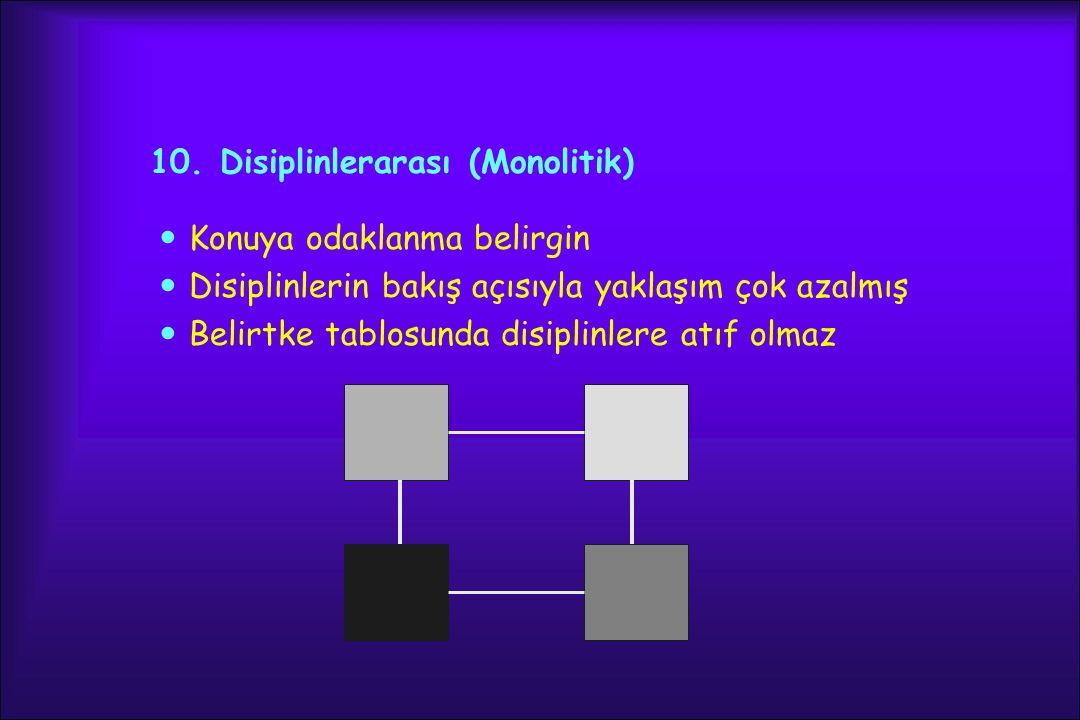 10. Disiplinlerarası (Monolitik) Konuya odaklanma belirgin Disiplinlerin bakış açısıyla yaklaşım çok azalmış Belirtke tablosunda disiplinlere atıf olm