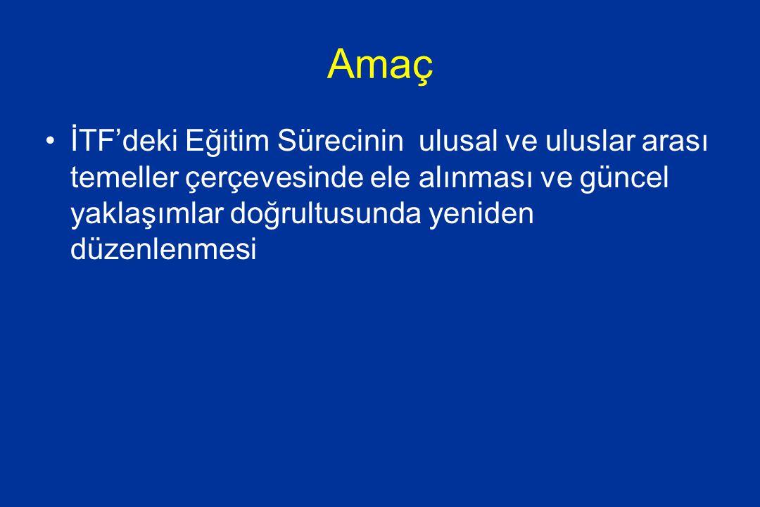 İTF Misyon, Vizyon, Temel değerler a) İstanbul Tıp Fakültesinin MİSYONU İyi hekimlik için gerekli bilgi, beceri ve tutumla donatılmış bireyler yetiştiren, toplumun ihtiyaçlarına yönelik ve evrensel bilgiye katkılarda bulunacak bilimsel araştırmalar yapan ve bilim insanları yetiştiren, nitelikli sağlık hizmeti sunan ve bu işlevlerin birbirini beslediği bir kurum olmak. b) İstanbul Tıp Fakültesi'nde Temel Değerler ve İlkeler: *Etik Kurallara uygunluk, *Güvenirlilik ve kalite, *Bilimsellik, *Yaratıcılık ve üretkenlik, *Evrensellik, *Çağdaşlık, *İnsan haklarına ve çevreye saygı, *Katılımcılık