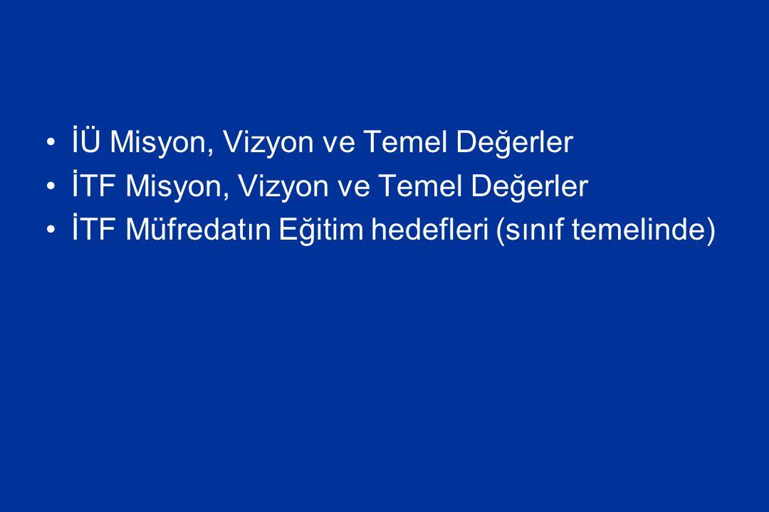 İÜ Misyon, Vizyon ve Temel Değerler İTF Misyon, Vizyon ve Temel Değerler İTF Müfredatın Eğitim hedefleri (sınıf temelinde)