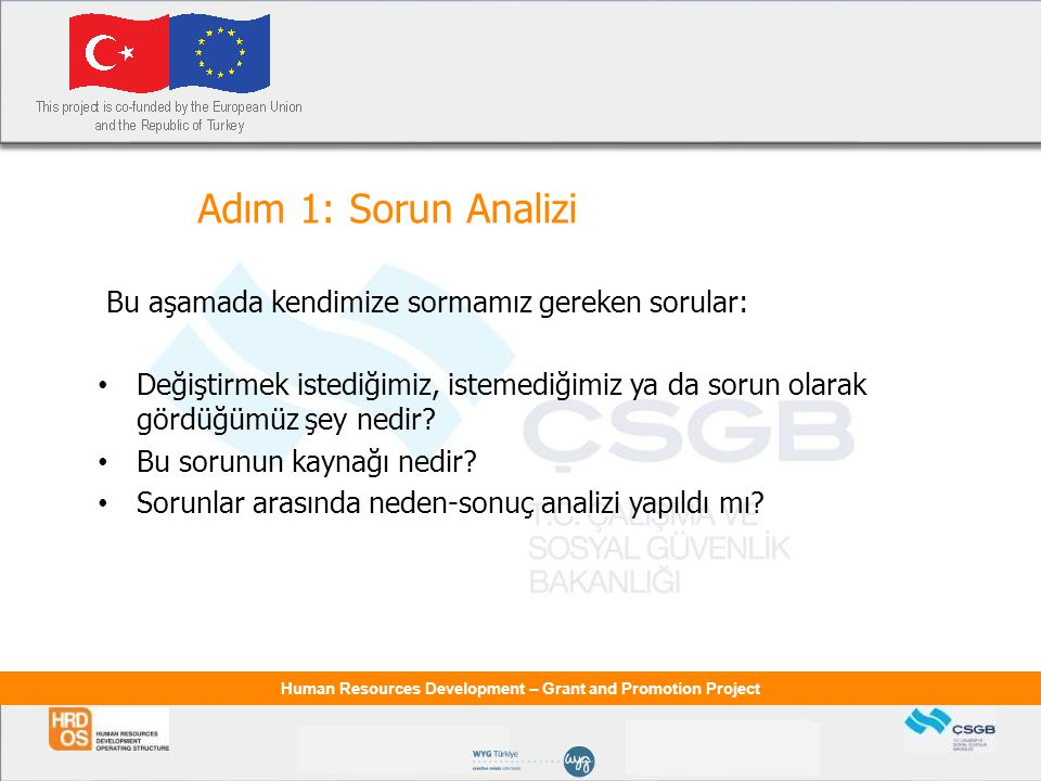 Human Resources Development – Grant and Promotion Project Adım 1: Sorun Analizi Bu aşamada kendimize sormamız gereken sorular: Değiştirmek istediğimiz
